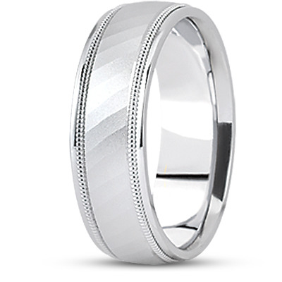 Diamond Cut Milligrain Wedding Band