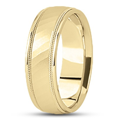 Diamond Cut Milligrain Wedding Band in Yellow Gold