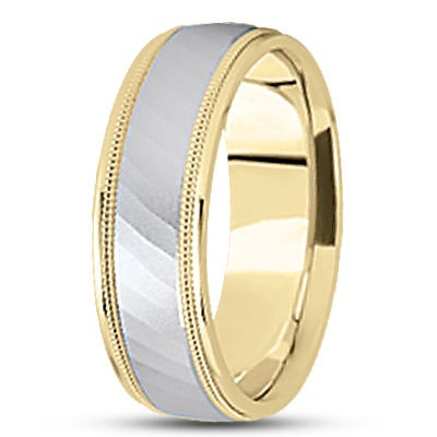 Diamond Cut Milligrain Wedding Band in Two Tone
