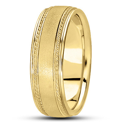 Satin Finish Rope Mens Wedding Band in Yellow Gold
