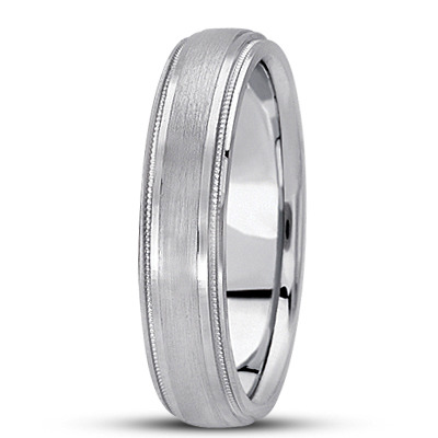 Low Dome Satin Finish Milligrain Mens Wedding Band