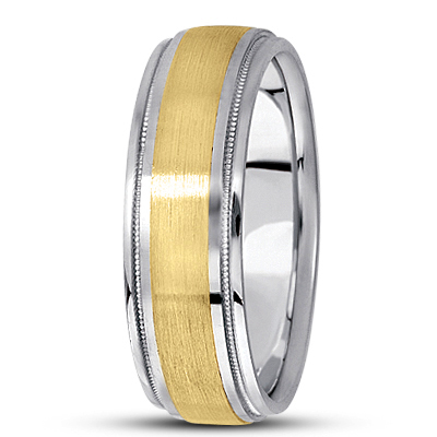 Satin Finish Milligrain Mens Wedding Band in Two Tone