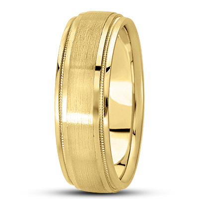 Satin Finish Milligrain Mens Wedding Band in Yellow Gold