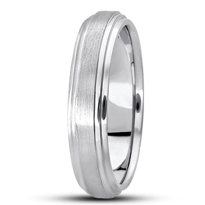 Low Dome Satin Finish Tiered Men's Wedding Band