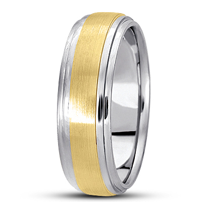 Satin Finish Tiered Men's Wedding Band in Two Tone