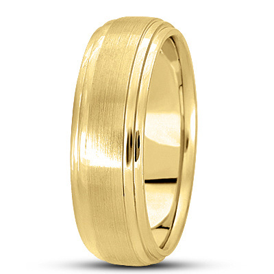 Satin Finish Tiered Mens Wedding Band in Yellow Gold