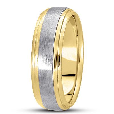 Satin Finish Tiered Mens Wedding Band in Two Tone