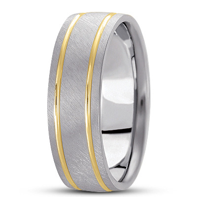 Cross Satin Section Band in Two Tone