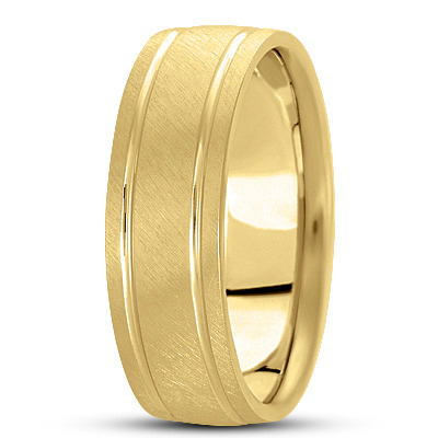 Cross Satin Section Band in Yellow Gold