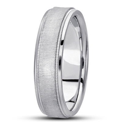 Flat Milligrain Cross Satin Mens Band