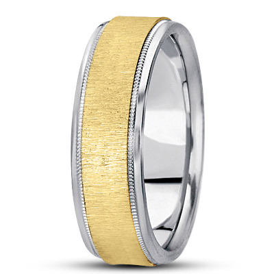 Flat Milligrain Cross Satin Two Tone Band