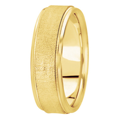 Flat Milligrain Cross Satin Yellow Gold Band