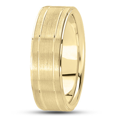 Flat Section Satin Yellow Gold Band