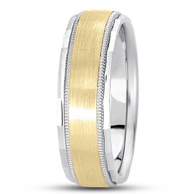 Flat Milligrain Diamond Cut Two Tone Band