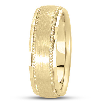 Flat Milligrain Diamond Cut Wedding Band