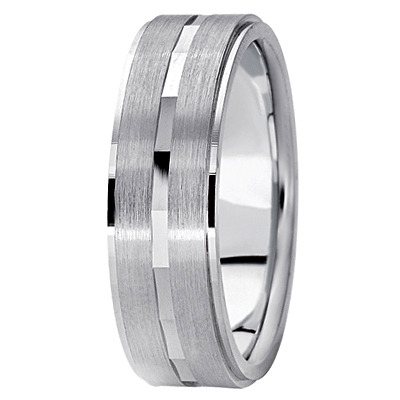 Flat Satin Diamond Cut Mens Band