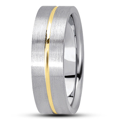 Flat Section Wedding Band in Two Tone