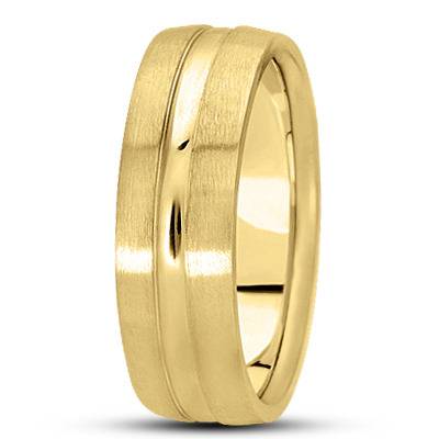 Domed Section Mens Band in Yellow Gold