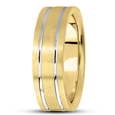 Flat Lined Satin Wedding Band in Two Tone