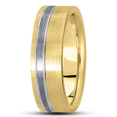 Asymmetrical Mens Satin Band in Two Tone