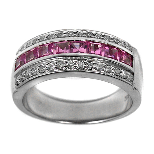 Nine Stone Princess Cut Pink Sapphires and Round Diamonds Wedding Band 1.30 tcw.
