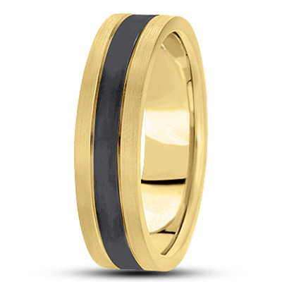 Black Rhodium Satin Men's Yellow Tri Band