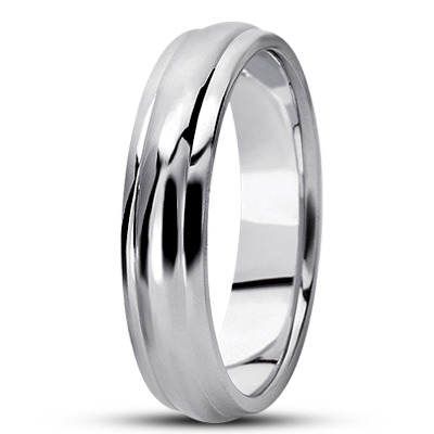 Center Domed Mens Wedding Band