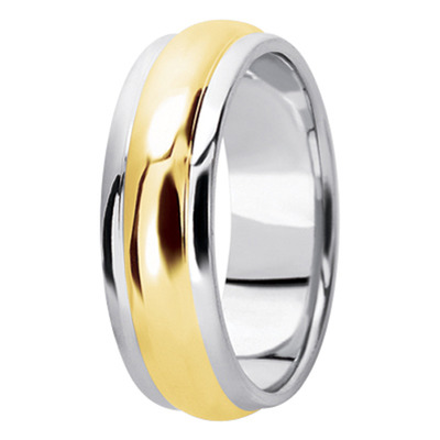 Center Domed Two Tone Mens Wedding Band