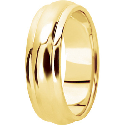 Center Domed Yellow Men's Wedding Band