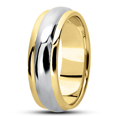 Center Domed Two Tone Men's Wedding Band