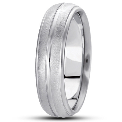 Cross Satin Low Dome Split Mens Band