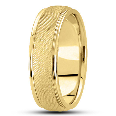 Textured Yellow Men's Wedding Band