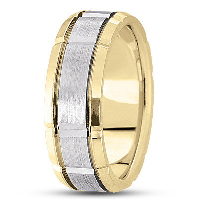Satin Section Wedding  Ring 8.5mm Wide in Two Tone