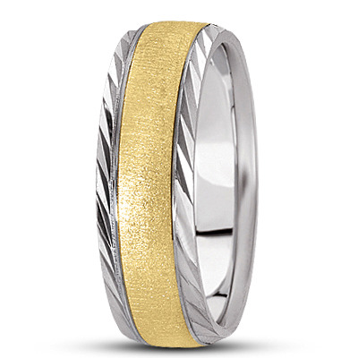 Beveled Diamond Cut Satin Band in Two Tone