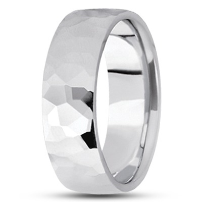 Hammered Men's Wedding Ring 7mm
