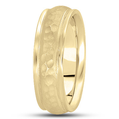 Ridged Hammered Mens Band in Yellow