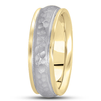 Ridged Hammered Men's Band in Two Tone