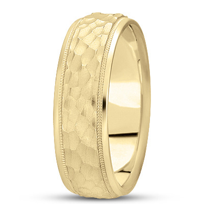 Milligrain Hammered Mens Band in Yellow