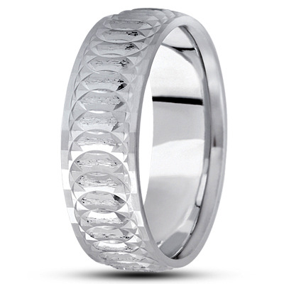 Engraved Spiral Infinity Wedding Band