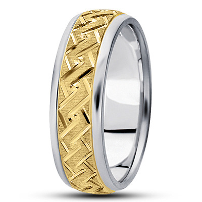 Diamond Cut Rope Engraved Two Tone Band