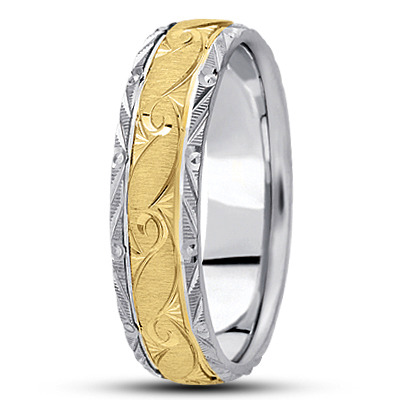 Rococo Engraved Mens Two Tone Wedding Band