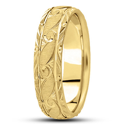 Rococo Engraved Mens Yellow Wedding Band