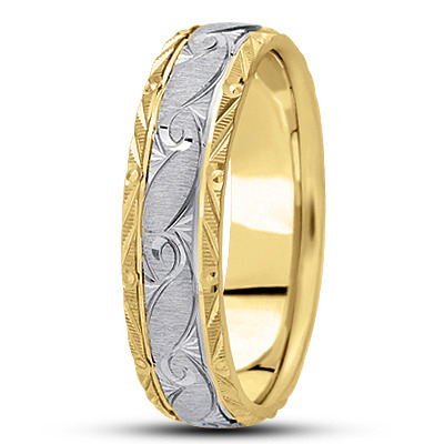 Rococo Engraved Men's Two Tone Wedding Band