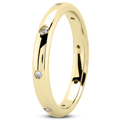 Round Diamond Stackable Band in Yellow