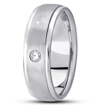 Round Diamond Mens Satin Finish Band