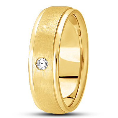 Round Diamond Mens Satin Yellow Band