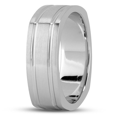 Square Mens Wedding Band Satin Finish