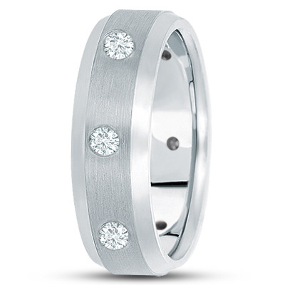 Beveled Mens Bezel Diamond Band