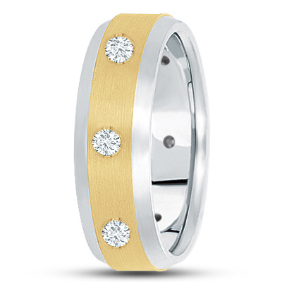 Bezel Mens Diamond Band in Two Tone