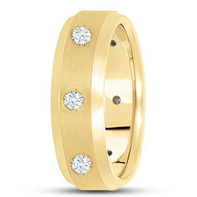 Bezel Mens Diamond Band in Yellow